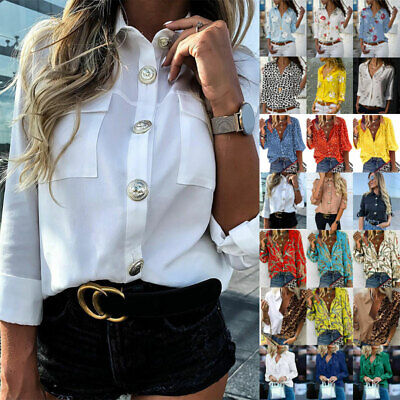 Womens Button Down Long Sleeve Shirts Ladies OL Work Casual Party Blouse Tops • 12.78£