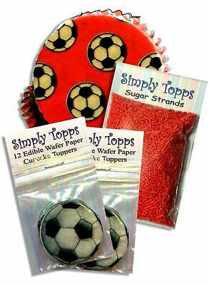 £5.50 • Buy Red Football Party Cupcake Kit 24 Toppers Strands 24 Cases Cake Decoration