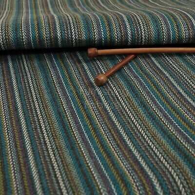 New Furnishing Fabric Quality Textured Striped Upholstery In Grey Blue Colour • 26.99£