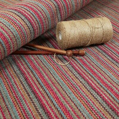 New Furnishing Fabric Quality Textured Striped Upholstery In Grey Red Colour • 26.99£