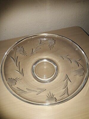 £10 • Buy Gleneagles Crystal Low Bowl Etched Compote Fruit