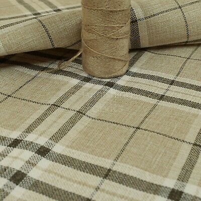 New Furnishing Fabric Textured Tartan Pattern Upholstery In Beige Colour • 14.99£