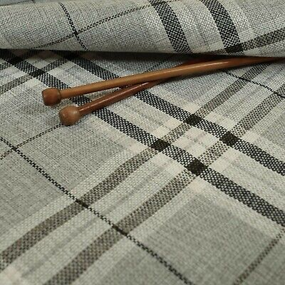 New Furnishing Fabric Textured Tartan Pattern Upholstery In Silver Grey Colour • 14.99£