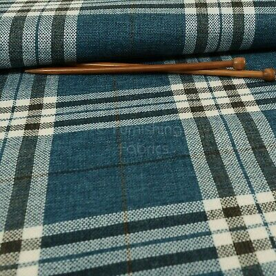 New Furnishing Fabric Textured Tartan Pattern Upholstery In Blue Colour • 14.99£