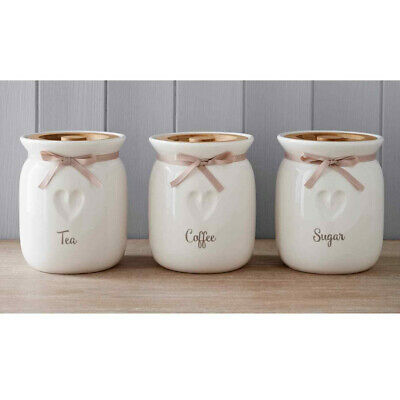 £19 • Buy Tea Coffee Sugar Ceramic Canisters Engrave Heart Kitchen Storage Jars Set Of 3
