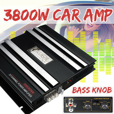 AU49.40 • Buy 3800W Car Amplifier 2 Channel Stereo DC 12V Power Amp Audio Auto Truck Speakers