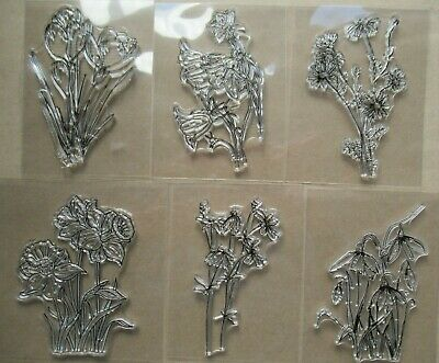 NEW Clear Acrylic Unmounted Stamps - Little Flowers / Easter, Mother's Day Etc • 3.33£