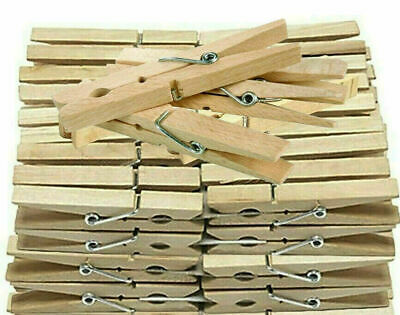 Wooden Clothes Pegs Pins Clips Washing Line Airer Dryer Line Wood Discounts • 2.70£