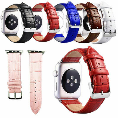 £7.95 • Buy For Apple Watch Series SE 6/5/4/3/2/1 Premium Crocodile Leather Watch Strap Band