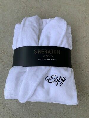 AU64 • Buy Personalised Embroidered Unisex Sheraton Luxury Robes Charcoal/White/Silver