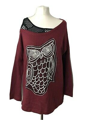 Ladies Off Shoulder Owl Print Tunic Jumper Top Burgundy Red Longline Size Medium • 16£