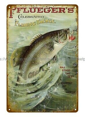 Wall Art Pflueger's Celebrated Fishing Tackle Metal Tin Sign • 11.42£