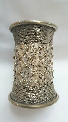 £180 • Buy Vintage Burmese Myanmar Silver Plated Arm Cuff, Wire Decorated Armlet / Arm Ring