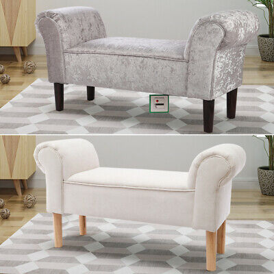 Occasional Bed Bench Velvet Linen Bench Window Seat Pouffe Bed End Sofa Chair UK • 87.95£