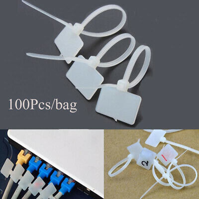 Waterproof Cable Labels Fiber Wire Organizers Identification Tags Zip Ties • 3.40£
