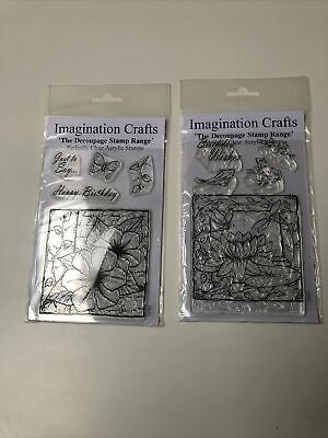 Imagination Crafts Decoupage Clear Acrylic Stamps Happy Birthday Lily Pads Frogs • 7.99£