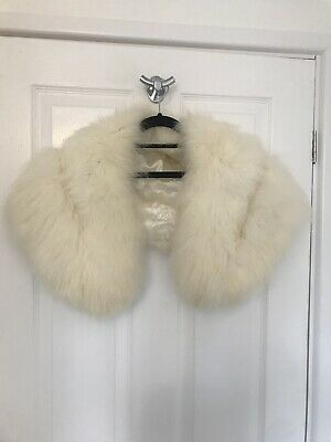 £140 • Buy Ivory White Real Fox Fur Stole Vintage Bridal