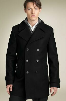 $564.99 • Buy Burberry London Wool Black Pea Coat Trench Double Breasted UK54 US44