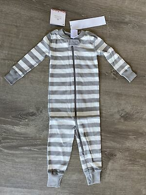 $19.99 • Buy New Hanna Andersson Pajamas One-piece Striped Sleeper Gray US 12-18 Months