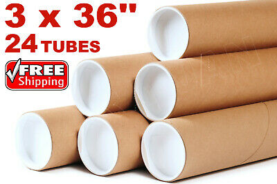$69.95 • Buy 3 X 36  Kraft Tubes Poster Document Graphics Mailing Shipping Packing 24 Tubes