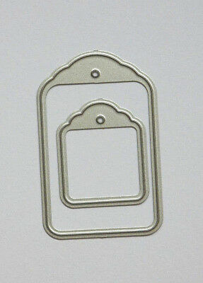 STACKING LABELS Metal Cutters Greetings Tags 2 Cutting Dies 3.0cm & 5.2cm Tall • 2.60£