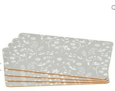 AU41.39 • Buy Grey Set Of 4 Place Mats And 4 Coasters Dining Table Placemats Washable Floral