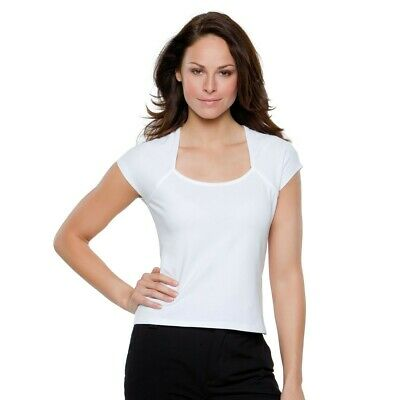 £4.99 • Buy Ladies Plain Basic Cotton Fitted Scoop Round Neck T-Shirt Tee Top White Black