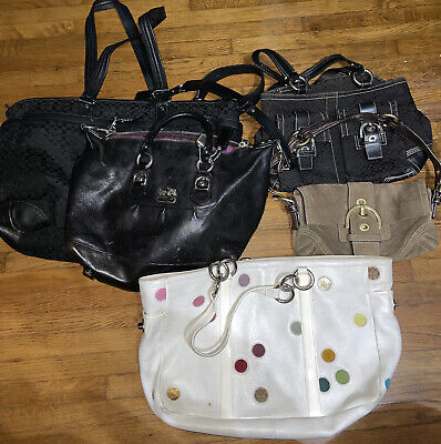 $ CDN123.26 • Buy Lot Of 6 Coach Handbags Damaged And As Is For Repair Cleaning