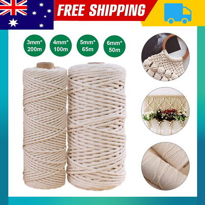 AU11.99 • Buy 3/4/5/6mm Macrame Rope Natural Beige Cotton Twisted Cord Artisan Hand Craft AUS