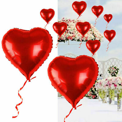 20X Red Heart Love Foil Helium Balloons Wedding Party Decration Valentine's Day • 5.69£