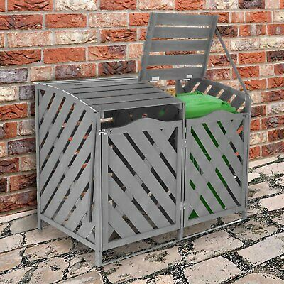 Wooden Double Wheelie Bin Store Outdoor Cover Recycling Storage Unit Hinged Lid • 191.99£