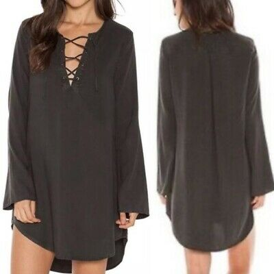 $ CDN55 • Buy Anthropologie Cloth And Stone Black Tencel Tunic Dress Women Size XS Lace Up Top