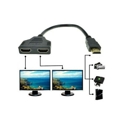 $ CDN6.22 • Buy 4K HDMI Cable Splitter Adapter 2.0 Converter 1 In 2 Out 1 Male To 2 Female