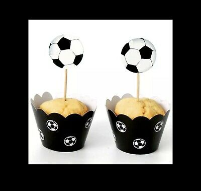 £4.99 • Buy 24 Piece Football Paper Cupcake Cases Cake Wrapper Topper Birthday Party Soccer