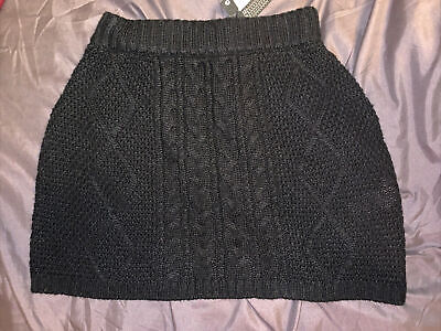 £3.95 • Buy Black Uk Size 6 Chunky Knit Skirt XS Or Girls Brand New Tag Winter