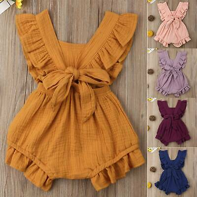 Infant Baby Girl Ruffle Birthday Romper Clothes Outfit Summer Jumpsuit Bodysuit • 10.89£