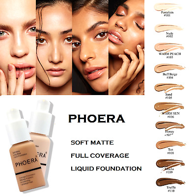 PHOERA® Foundation Concealer Full Coverage Makeup Matte Brighten Long Lasting UK • 7.65£