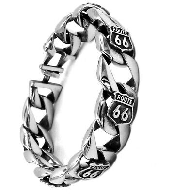 Mens Designer Bracelet Route 66 Silver Biker Chain Link For Men 316lssteel 22.cm • 30.66£