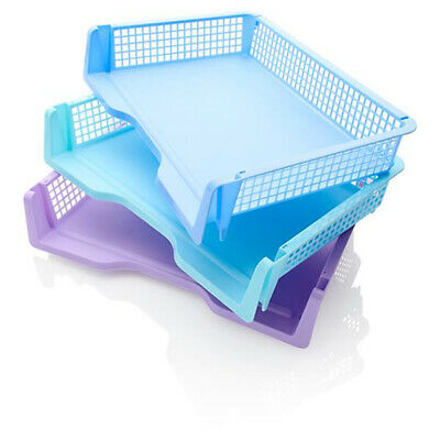 £9.99 • Buy A4 Paper Tray Office Desk Tidy Filing Document Storage File Letter Rack Set Of 3