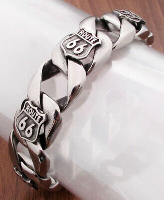 Route 66 Bracelet USA Biker Rider Harley Punk Silver 316L S Steel Luxury 66 UK • 30.66£