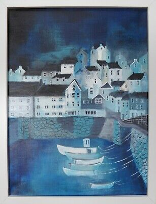 £80 • Buy Mevagissey Blues : Original Framed Painting, Cornwall, Harbour, Sea, Boats,