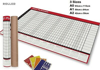 £0.99 • Buy 2021 A0 A1 A2 Full Year Wall Planner Calendar Home Office Work JAN-DEC ROLLED