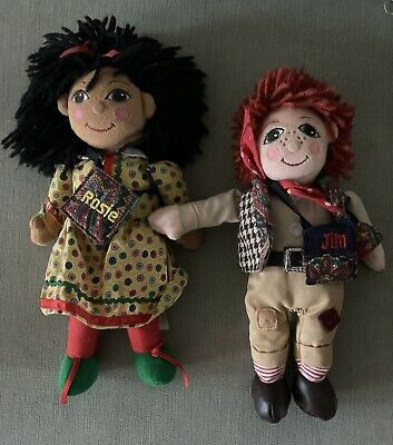 """Vintage Rosie And Jim 10"""" Ragdolls With Their Bags - Great Condition • 49.99£"""