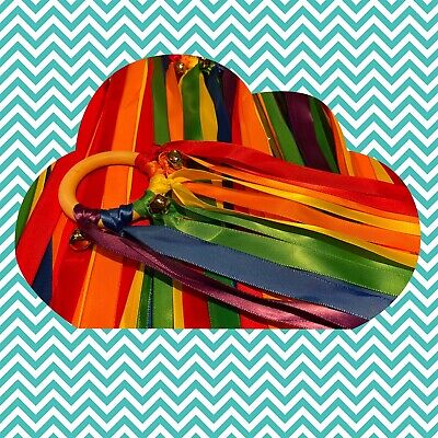 Rainbow Wooden Sensory Ribbon Ring Baby Toy Baby Shower With Bells • 3.10£