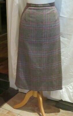 Cotswold Collections Pure Wool Brown Tartan / Plaid Long Pencil Style Skirt  12 • 20£