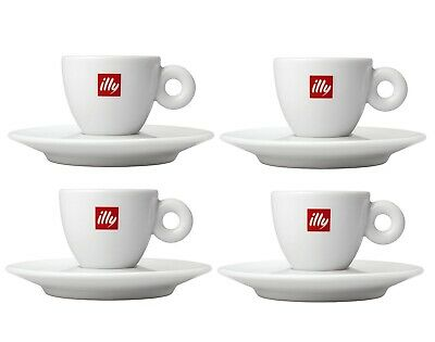 ILLY Logo Cappuccino Cups & Saucers (Set Of 4) - 6 Oz./each  • 50.06£