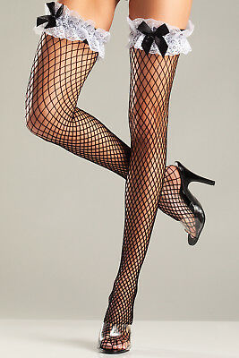 $9.16 • Buy Sexy BE WICKED French Maid DIAMOND Net RUFFLED Lace TOP Thigh HIGHS Stockings