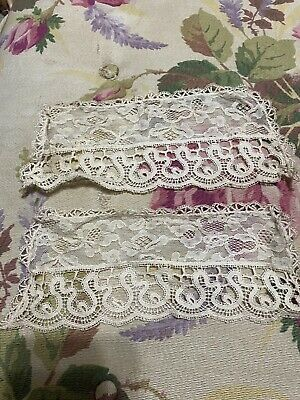 Chic Antique LG Collar And Cuffs French Cream Chantilly Tuscany Lace Ornate • 49.35£