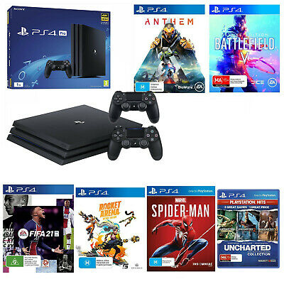 AU799.99 • Buy Sony PS4 Pro 2 Controllers 9 Game Battlefield Spiderman Fifa 21 Uncharted Bundle