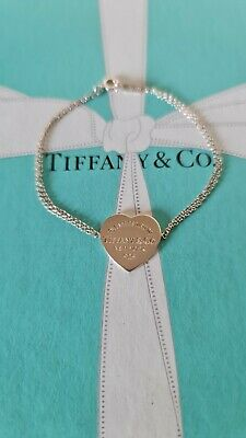 Authentic Tiffany & Co Heart Tag Double Chain Bracelet. RRP £165 • 99.95£